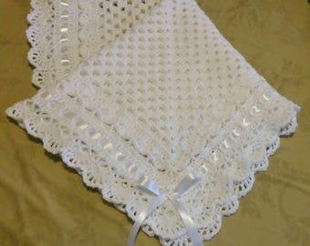 Crochet White Christening, Baptism, Baby Blanket, Afghan, Granny Square Blanket, Crocheted Lace Edge
