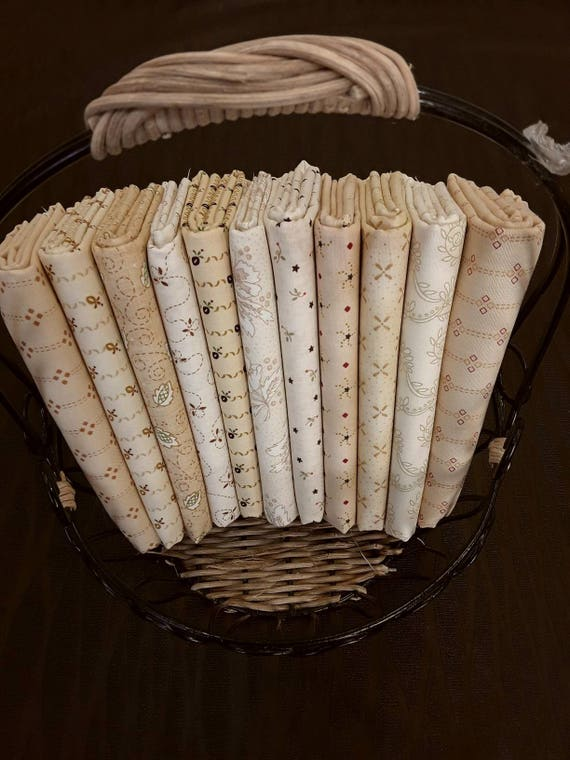 Kim Diehl Quilt Fabric Bundle of Half Yards Hand Cut From 11 Butter Churn Basic Creamy Neutrals For Homestyle Patchwork Quilting Group A