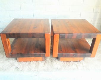Vintage Pair of Mid Century Modern Minimalist Wood Cube End Tables