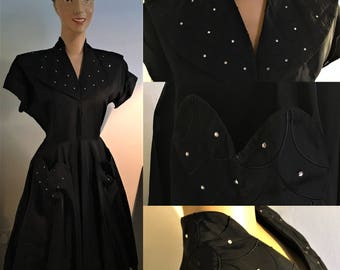 ORIGINAL 1950's BLACK TAFFETA Party Swing Dress