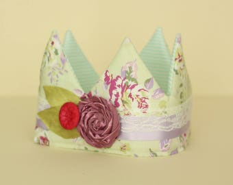 Green Floral Fabric Crown with Dusty Pink flower trim