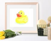 Rubber Duck bathroom art Bathroom wall art Colored pencil drawing Yellow duck illustration Children's bathroom art Rubber ducky Duck art
