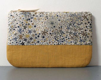 Liberty and mustard linen pouch