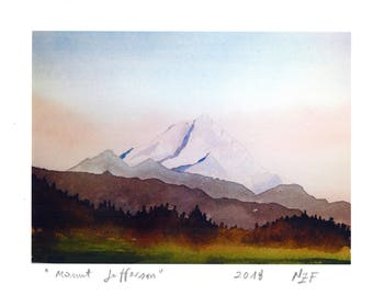 Original glicée landscape Mount Jefferson print painting mountain decor landscape american landscape decor wall decor print watercolor print