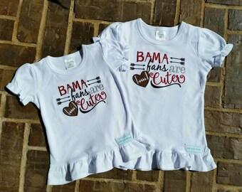 """Girl's Ruffled Alabama Crimson Tide, """"BAMA fans are Cuter"""" embroidered shirt"""