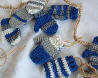 Royal Blue silver cream mitten garland (3 ft) / Handmade garland / mitt banner / mini mitten Christmas Garland