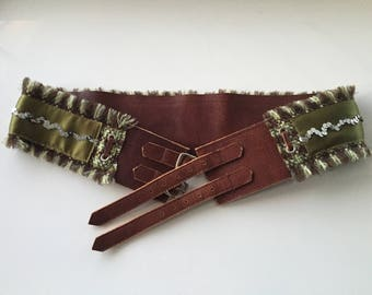 Double Notch Buckle Brown Leather Belt with Green Plaid Sequins Boho