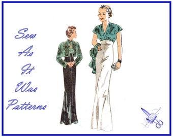 "Retro 1930s Butterick 6410 Surplice Cap Sleeve Evening Dress High Waist Crop Bolero Jacket Vintage Sewing Pattern Size 6 8 10 Bust 30 31 32"""