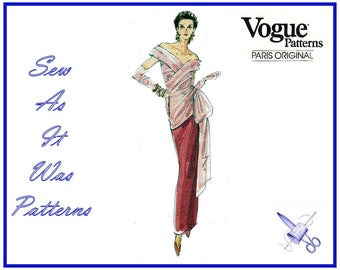 "1990s Vogue Designer Original 2804 Bellville Sassoon Evening Wrap Bodice Bow Trim Slim Dress Sewing Pattern Size 6 8 10 Bust 30 31 32"""
