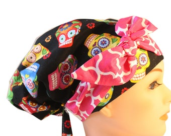 Scrub Hat Cap Chemo Bad Hair Day Hat  European BOHO Banded Pixie Tie Back Cantina Sugar Skulls Bright Pink Tie Band 2nd Item Ships FREE