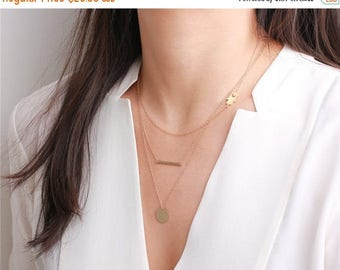 ON SALE Hand hammered 14k gold filled bar - 14k gold filled necklace - everyday simple jewelry