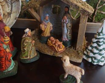 Vintage, Chalkware Nativity Set with Creche