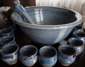 Vintage, Stoneware Punch Bowl with Ladle and Ten Cups