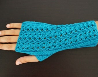 Mid-length gloves, pure turquoise Merino Wool