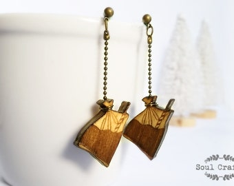 Packet drinks Earring Wooden dangling earring Asian Takeaway packet drinks Kopi Teh Ikat Tepi Birthday Wedding Mother's day Gift BFF gift