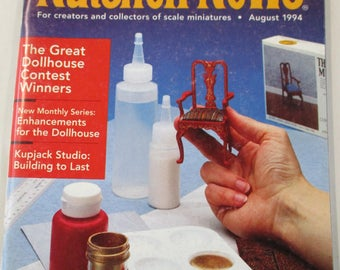 Nutshell News Magazine. Back issue August 1994  used .  Dollhouse Miniature projects good condition