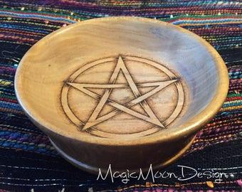 Woodburned pyrography pentagram pentacle bowl