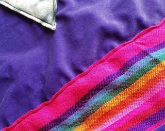 Velvety purple halter top with rainbow stripe