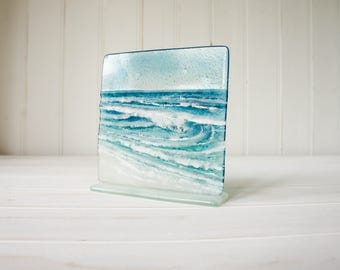 "The Rolling Wave-FREE UK SHIPPING- Turquoise/Blue Wave Panel Fused Glass Windowsill Upstand 15cm D2 (6"") square on 1 foot"