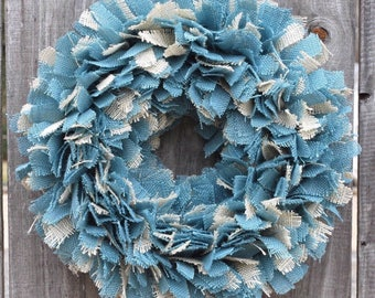 Burlap Beach Wreath, Beach Wreath, Blue Burlap Wreath, Nautical Wreath, Nautical Decor, Coastal Wreath, Coastal Decor, Beach Wedding