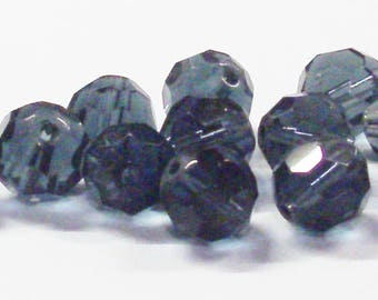 Faceted Round Glass Beads in Dark Gray Blue 14 MM (12)