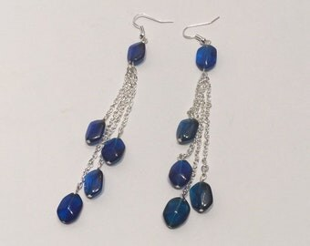 Silver Chain and Glass Bead Dangling Earrings