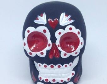 Velvet Black Red and White Sugar Skull Statue handmade hand made OHIO USA tattoo ceramic pottery