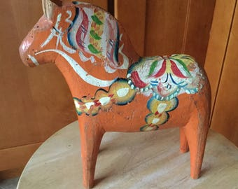 Large Antique Folk Art Carved Swedish Dala Horse