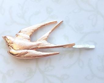 Rose Gold Bird Hair Pin, Bobby Pin, Woodland, Boho, Rustic, Nature, Garden Wedding Hair, Vintage Bridal Hair, Swallow, Feather