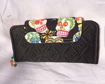 Slimline Wallet - Black with sugar skull flap