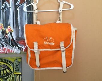 Vintage Schwinn Backpack 1970's 1980's Orange RARE Rucksack Made in USA Bicycle