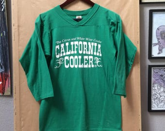 Vintage California Cooler The Citrus and White Wine Cooler 3/4 Sleeve Jersey Shirt Made in USA 1980's Medallion