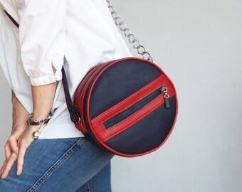 Round leather crossbody purse, Round blue red leather bag, Small round leather crossbody. Circle leather chain purse.