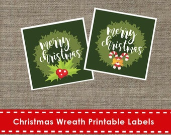 Christmas Wreath Printable Green Labels - DIY - Labels - The Studio Barn