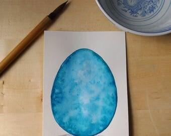Ice Dragon Egg Watercolor Painting OOAK
