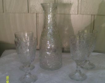 Vintage Princess House Crystal Wine Carafe with Four Wine Goblets, Fantasia Pattern, Princess House Wine, Carafe and Goblets