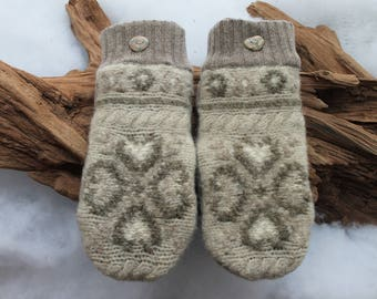 Wool sweater mittens lined with fleece with Lake Superior rock buttons in tan, taupe, and cream, Valentines, winter wedding, birthday
