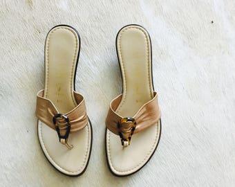 SALE / Minimal Chic Italian Slides / Simple Low Heeled Sandals / Size 6