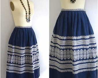 Mexican Woven Skirt/  Blue Embroidered Skirt/ Folk Tribal Skirt/ Boho Festival Skirt/ Womens Size Small