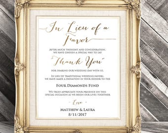 In lieu of favors sign thank you sign wedding favor sign wedding favor donation card in lieu of favors stopboris Image collections