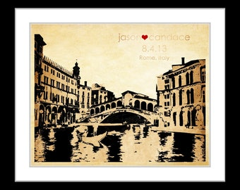 Wedding gift, Any or italy, engagement gift, him her, bridal shower gift, anniversary gift, italy gift, italy wall art print florence, milor