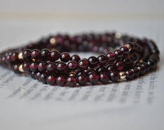 Vintage Garnet Necklace - 1970s Round Garnet Beads,