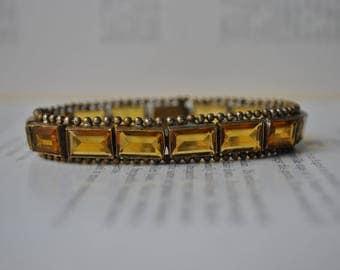 Antique Glass Stone Bracelet- 1920s Art Deco Amber Glass Bracelet