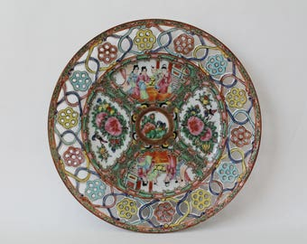 """Antique Chinese Export Reticulated Floral Border Rose Medallion Porcelain Plate 8-3/8"""""""