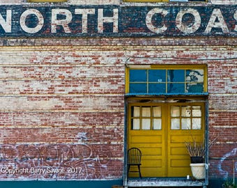 North Coast on brick building, yellow, blue and red 4x6,5x7, 8x10, 11x14