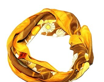 Retro flowers printed scarf  Mustard Yellow  and brown colour