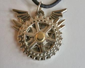 Steam punk Diesel punk Gear wings cogs OOAK pendant Unisex necklace jewelry