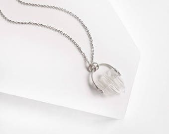 Clear Quartz Necklace/ Sterling Silver Necklace/ Gemstone Pendant/ Crystal Necklace/ Wire Wrapped Necklace/ Bohemian Necklace/ Birthday Gift