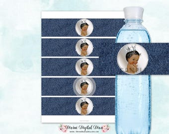 Denim & Diamonds Water Bottle Label | African American Prince Vintage Baby Boy | Digital Instant Download