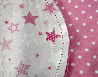 Pink and White Stars with Pink and White Poke Dot backing Hemstitched Baby Blanket and Burps ready for you to crochet by Lindas Hemstitching
